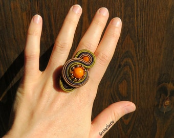 Statement ring in earth tones - Soutache jewelry - Bohemian style - Oversized ring