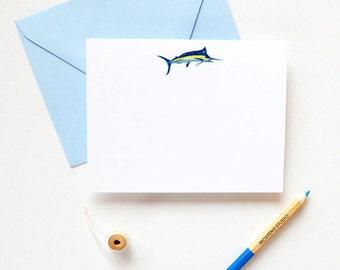 Marlin Fish Note Cards | Fish Stationery Set | Marlin Fish Notes Boxed Set of 20