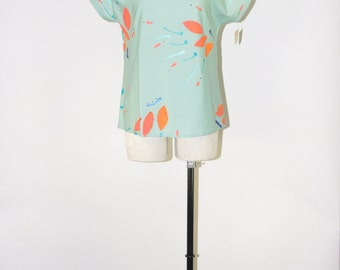 aqua green blouse / strong shoulders top / 90s avant garde top / hand painted blouse
