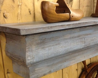 READY TO SHIP Floating Mantle Shelf made from Reclaimed Wood, Shabby Chic Floating Shelf, Fireplace Mantle, Distressed Beachy Blue Shelf