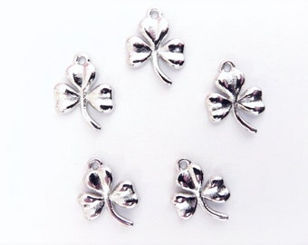Shamrock Charms, 5 pcs, Lucky Irish Shamrock, St Patrick's Day charm, platinum plated charms, Clover