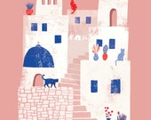 Santorini, Greece // A6 blank greeting card