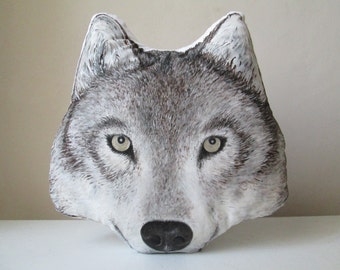Wolf throw decorative pillow animal shaped cushion faux taxidermy handpainted wolf lifelike wild spirit fantasy woodland rustic home decor