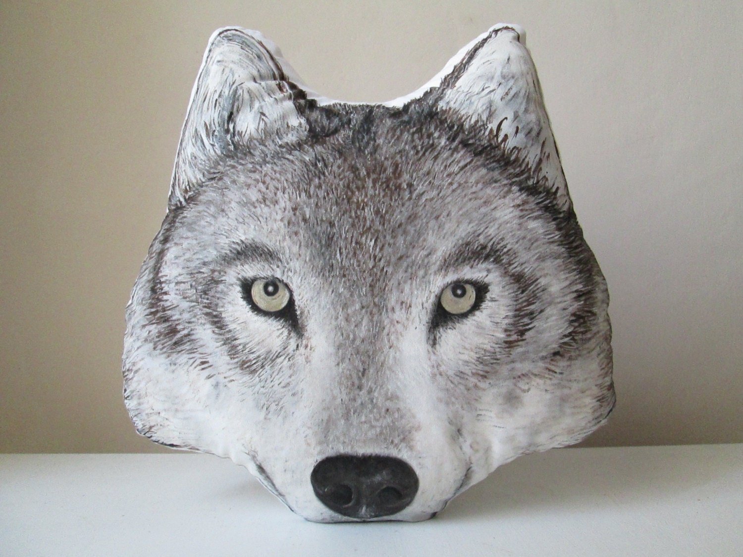 Wolf Throw Decorative Pillow Animal Shaped Cushion Faux