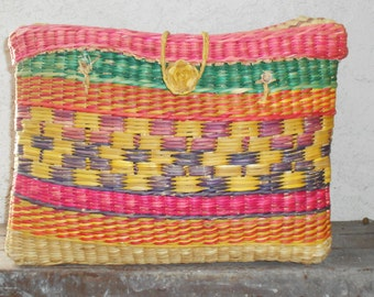 Vintage 70s Mexican Woven Basket