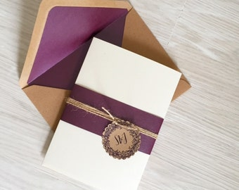 Pocketfold wedding invitation - plum and ivory