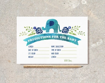 Predictions for Baby Card Printable Boy Baby Shower Games, Elephant Predictions Card Elephant Baby Shower Game, baby shower prediction card