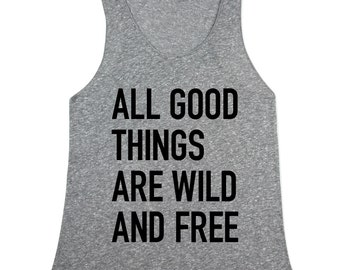Womens Meme Tank Top - Womens Heather Grey Wild and Free - In XS, Small, Medium, Large, XL