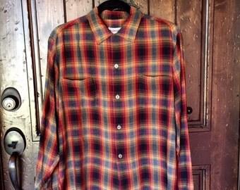 1950s Rayon Shadow Plaid Shirt M/L