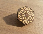 64 Tetrahedron Wood Inlay Hat Pin or Brooch - Sacred Geometry - Healing