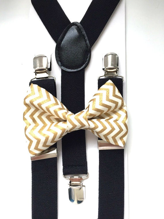 Black Suspenders and Gold Chevron Bow Tie