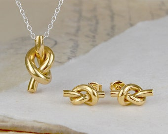 Jewelry Sets - Gold Jewellery - Friendship Knot - Earrings and Pendant Set - Bridesmaids Set - Gold Necklace Set - Silver and Gold - 925
