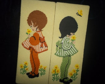 60's- 70's Girls Needlework Pictures