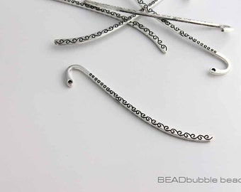 86mm Metal Bookmark Blank for Beads Silver Tone Swirl Pattern Pack of 5 (FIN219)
