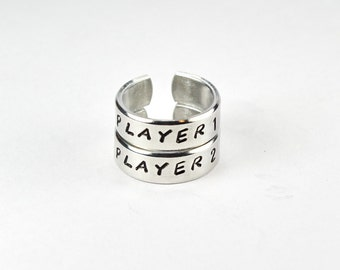 Player 1 Player 2 Ring Set, Video Game Rings, Best Friends BFF Matching Ring, Adjustable Aluminum Ring