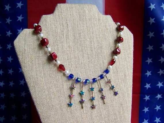 Patriotic Fireworks Beaded Necklace Set, Flag Necklace, Red White Blue Necklace, July Forth Necklace, Patriotic Necklace, Holiday #32