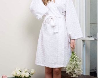 White Embroidered Cotton Bridal Robe by Ivy & Matilda | Wedding Robe | Knee Length | Made in Australia