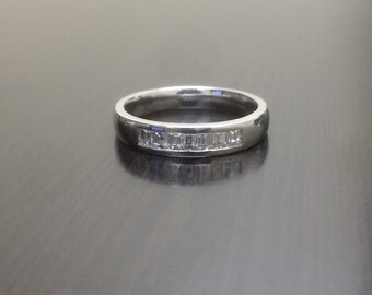 18K White Gold Baguette Diamond Engagement Band - 18K Gold Diamond Wedding Band - Channel Set Diamond Band - Baguette Band - Diamond Ring