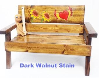 Kids Toddler + Outdoor Furniture, Childrens Reclaimed Wood Bench, Birthday Gift, Patio Garden, Painted & Engraved Folk Art Sunflowers/Heart