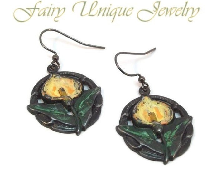 Hand Painted Yellow Calla Lily Splendor Dangling Earrings on Vintaj Arte Metal Stamping OOAK One of a Kind Art Nouveau Gun Metal Black