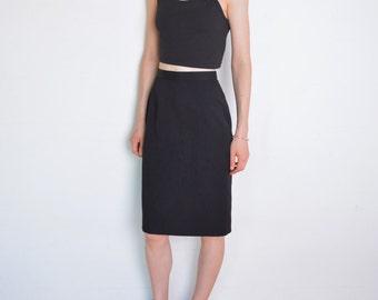 90's classic pencil skirt, black secretary skirt, office skirt, high waisted skirt, pin up skirt, minimalist skirt size small, wool blend
