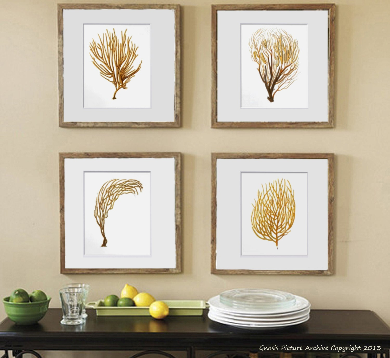Sea Fan Art Print Sea Coral Prints Set of 4 Beach Wall Decor