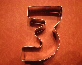 "Number Three 3"" Metal Cookie Cutter - Number 3"