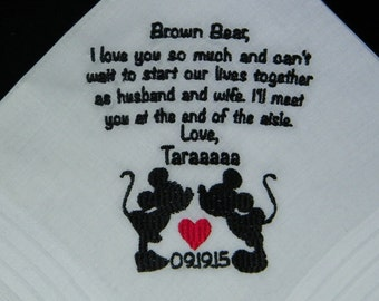 "Personalized GROOM gift from BRIDE ""Disney Destination"" Wedding Handkerchief"