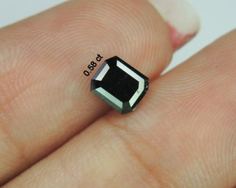 0.58 Ct Natural Loose Diamond Full Cut Emerald Shape Black Color L658