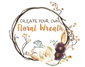 Create Your Own Fall Floral Wreath, Watercolor Fall Clipart, Autumn Clip Art, Rustic Fall Florals, Rustic Autumn Clipart Flowers Fall Leaves