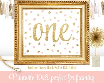 First Birthday Party Sign - Big One 1 - Blush Pink Gold Glitter Twinkle Little Star - Printable Girl Birthday Party Decorations - 8x10 JPG