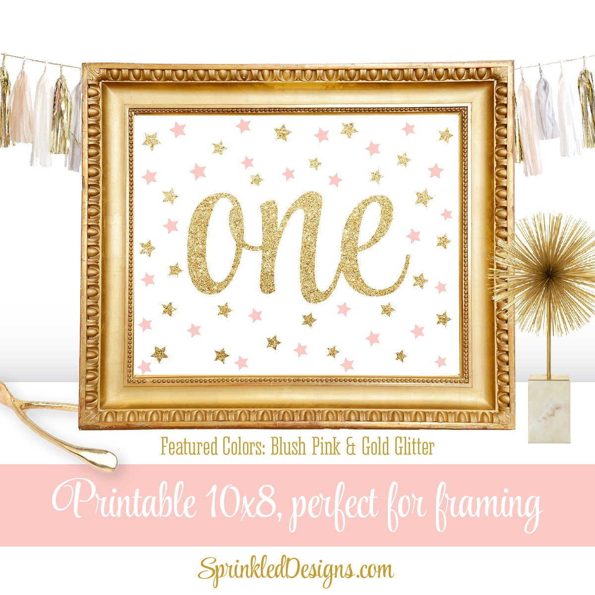 I Am One Pink And Gold Birthday Party Decorations One High: First Birthday Party Sign Big One 1 Blush Pink Gold