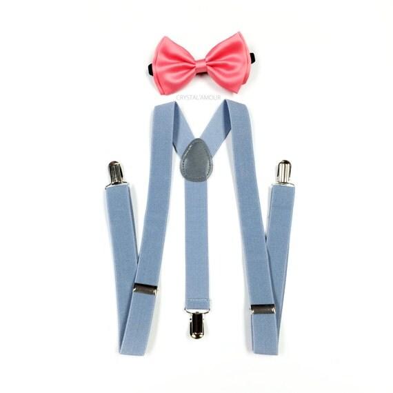 mens suspenders coral pink bowtie peachy pink bow tie gray