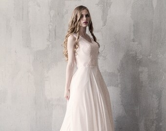 Peach open back lace wedding dress