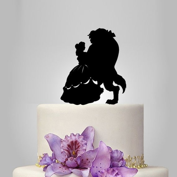 beauty and the beast silhouette cake topper unique by walldecal76