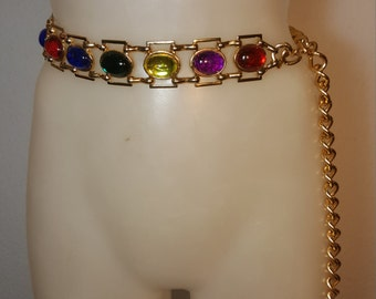 FREE  SHIPPING   Vintage Gold Stone Chain Belt