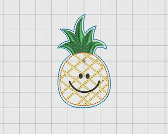 """Pineapple Felt Embroidery Design in 1.5"""" 2 inch and 3"""" Sizes"""
