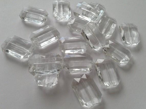 DIAMOND Clear Translucent Rectangular Beads- Set of 12