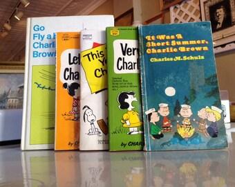 Vintage Lot of 5 Charlie Brown Hard and Paper Back Books