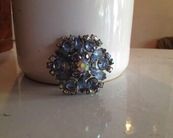 Vintage Periwinkle Blue Rhinestone Brooch