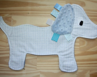 Blue gingham puppy with blue minky dot ear