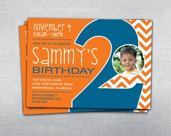 2nd birthday invitation chevron. Photo birthday invitation.