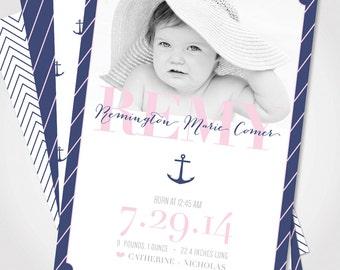 Nautical Baby Girl Announcement / Baby Girl Anchor Announcement / Baby Announcement Photo Card