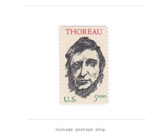 10 Vintage Unused Postage Stamps - 1967 5c Henry David Thoreau - Item No. 1327