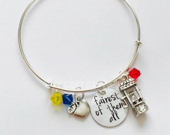 Snow White Inspired Bracelet. Snow White Bangle. Fairest if them All Jewelry