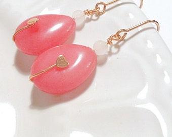 Quartzite earrings, Pink earrings, Strawberry earrings, April Birthstone Earrings, Rose Gold earrings, Gemstone earrings, Summer earrings