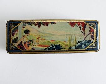 Art deco tin box. Vintage tin box. Art deco box. French vintage. Collectible tin. Vintage box. Biscuit tin. Vintage tin box. PARIS. // C345