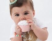 Mini 1/2 Birthday Party Hat Headband- Champagne Gold & Mint