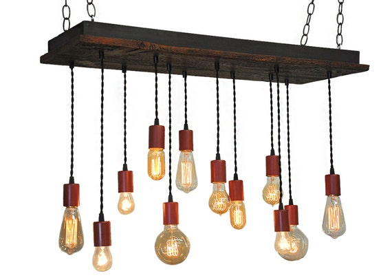Reclaimed Red Farmhouse Style Rustic Chandelier With Edison