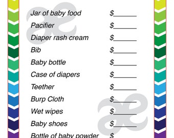 Printable Baby Shower Activity: Price is Right - Instant Download Rainbow